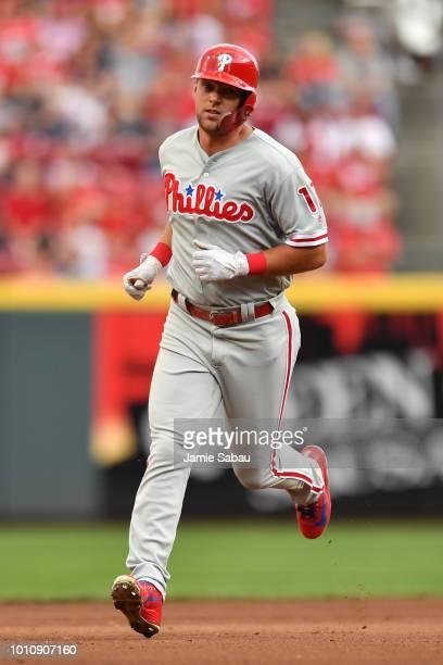 Rhys Hoskins of the Philadelphia Phillies runs the bases against the Cincinnati Reds at Great American Ball Park on July 28 2018 in Cincinnati Ohio