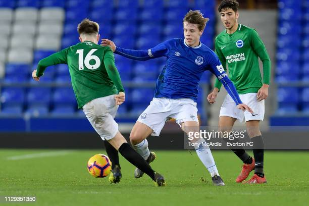 Rhys Hughes of Everton during the FA Youth Cup match between Everton and Brighton Hove Albion at Goodison Park on February 12 2019 in Liverpool...