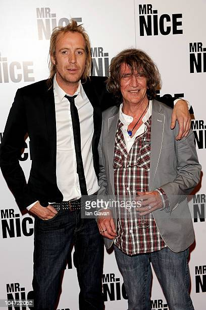 Rhys Ifans and Howard Marks arrive at the UK film premiere of 'Mr Nice' at the Cineworld Cinemas Haymarket on October 4 2010 in London England