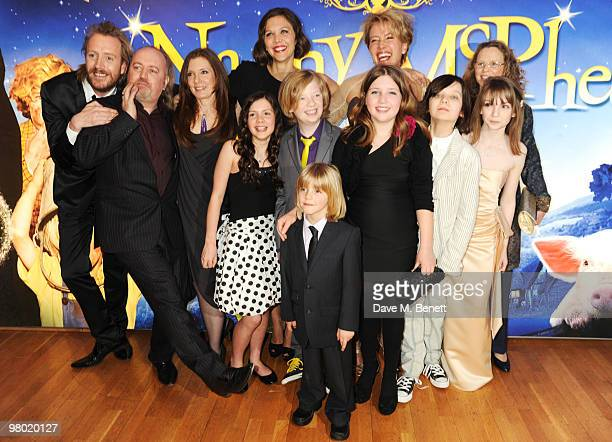 LR Rhys Ifans Bill Bailey Susanna White Lil Woods Maggie Gyllenhaal Oscar Steer Rosie Taylor Ritson and Emma Thompson arrive at the 'Nanny McPhee And...