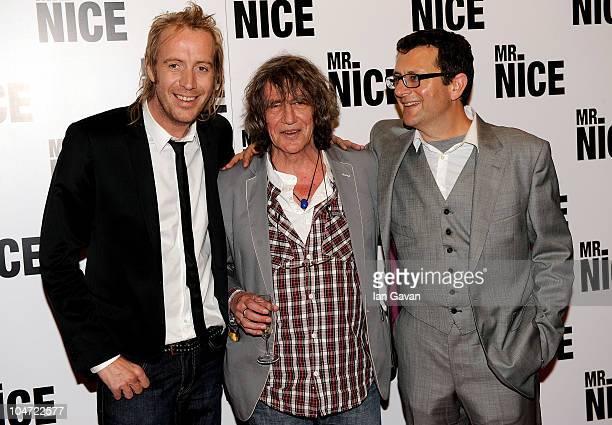 Rhys Ifans Howard Marks and director Bernard Rose arrive at the UK film premiere of 'Mr Nice' at the Cineworld Cinemas Haymarket on October 4 2010 in...