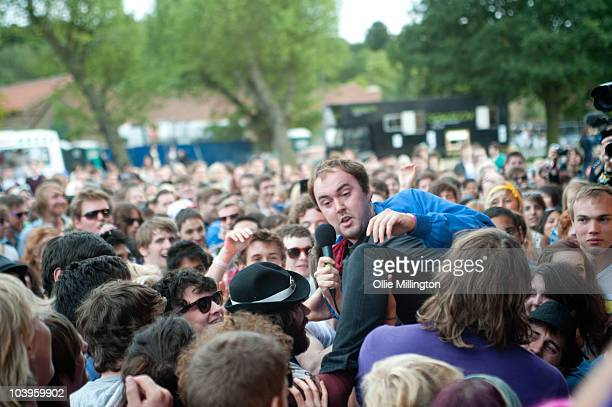 Rhys Jones of Good Shoes performs amongst the crowd infront of the main stage during day one of Offset Festival at Hainault Country Park on September...