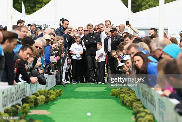 Rhys Kiernan putts at the launch of the Totally Mega Putt Challenge initiative in the Championship Village prior to the BMW PGA Championship at...