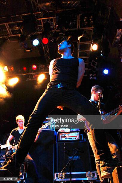 Rhys Lewis Gavin Butler and Matthew Davies of The Blackout perform on stage at the O2 Islington Academy on September 7 2009 in London England