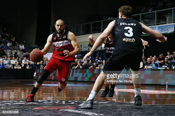 Rhys Martin of the Hawks drives against Finn Delany of the Breakers during the round seven NBL match between the New Zealand Breakers and the...