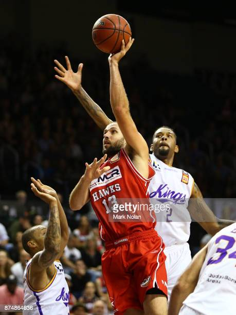 Rhys Martin of the Hawks drives to the basket during the round seven NBL match between the Illawarra Hawks and the Sydney Kings at Wollongong...