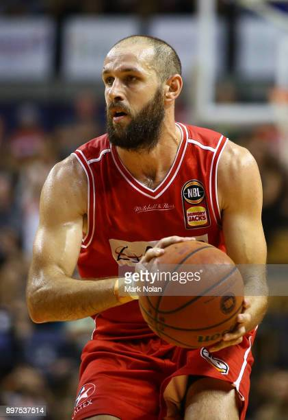 Rhys Martin of the Hawks in action during the round 11 NBL match between the Illawarra Hawks and the Perth Wildcats at Wollongong Entertainment...
