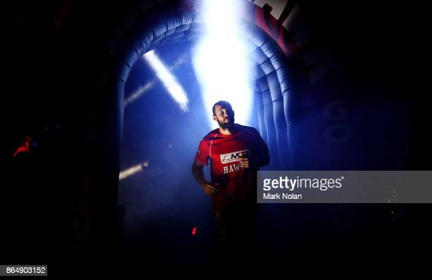 Rhys Martin of the Hawks runs onto the court before the round three NBL match between the Illawarra Hawks and the Brisbane Bullets at Wollongong...