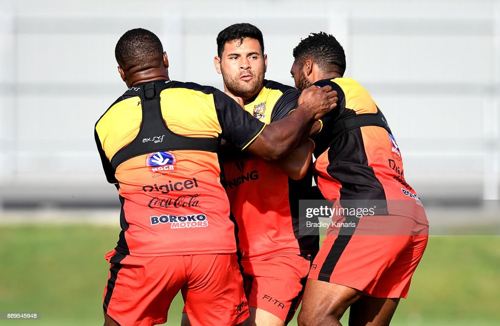 Rhys Martin takes on the defence during a Papua New Guinea Kumuls Rugby League World Cup training session at the Oil Search National Football Stadium on November 3, 2017 in Port Moresby, Papua New Guinea.