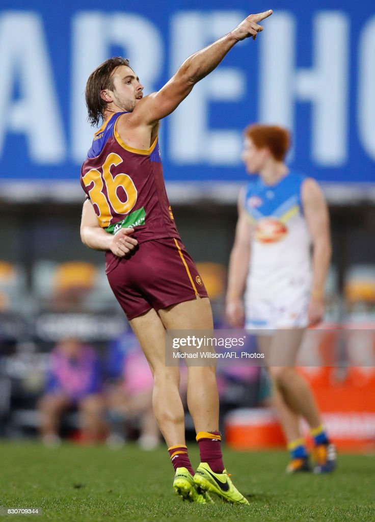 Rhys Mathieson of the Lions celebrates a goal during the 2017 AFL round 21 match between the Brisbane Lions and the Gold Coast Suns at the Gabba on August 12, 2017 in Brisbane, Australia.