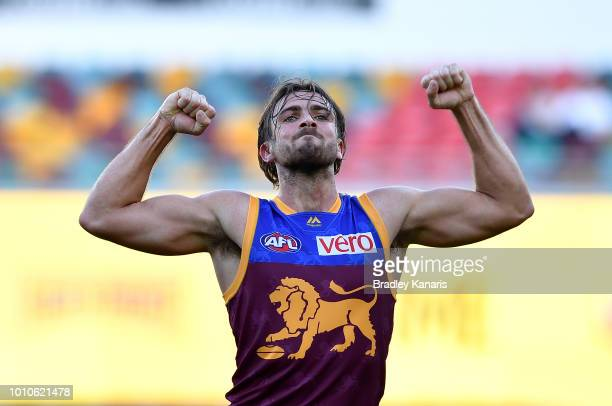 Rhys Mathieson of the Lions celebrates kicking a goal during the round 20 AFL match between the Brisbane Lions and the North Melbourne Kangaroos at...