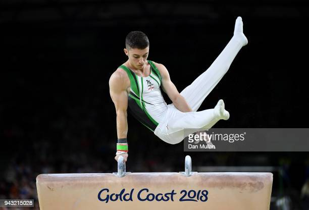 Rhys McClenaghan of Northern Ireland competes during the Gymnastics Men's Pommel Horse Final on day four of the Gold Coast 2018 Commonwealth Games at...