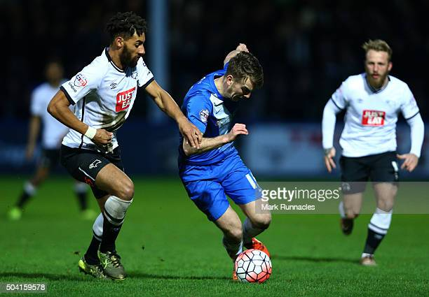 Rhys Oates of Hartlepool United takes on Nick Blackman of Derby County during The Emirates FA Cup third round match between Hartlepool United FC and...