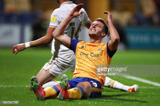 Rhys Oates of Mansfield Town reacts during the Sky Bet League Two match between Mansfield Town and Port Vale at One Call Stadium on October 19, 2021...