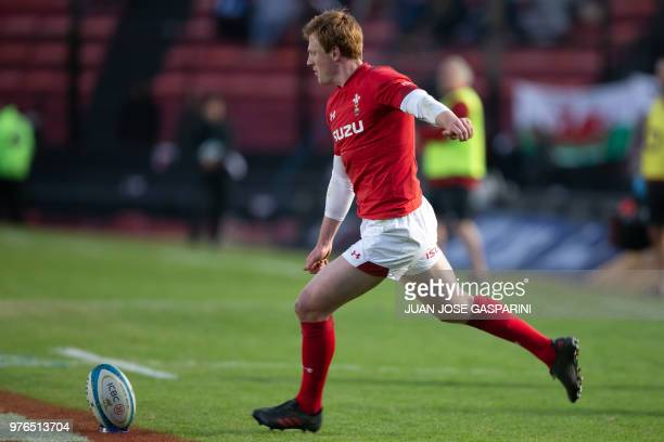 Rhys Patchell from Wales kicks the ball during the International Test Match between Argentina and Wales at the Brigadier Estanislao Lopez Stadium on...
