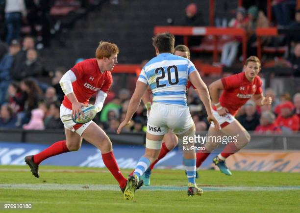 Rhys Patchell from Wales runs with the ball during the International Test Match between Argentina and Wales at the Brigadier Estanislao Lopez Stadium...