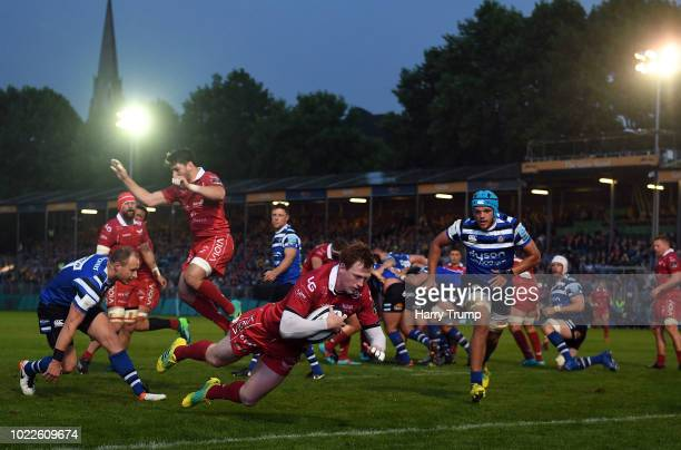 Rhys Patchell of Scarlets goes over for his sides first try during the Pre Season Friendly match between Bath and Scarlets at the Recreation Ground...