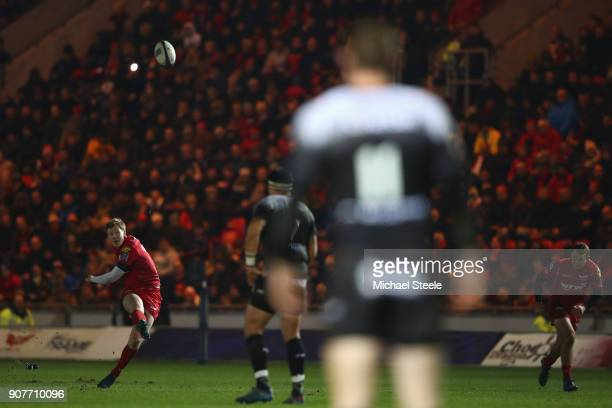 Rhys Patchell of Scarlets kicks a penalty from distance during the European Rugby Champions Cup match between Scarlets and RC Toulon at Parc y...