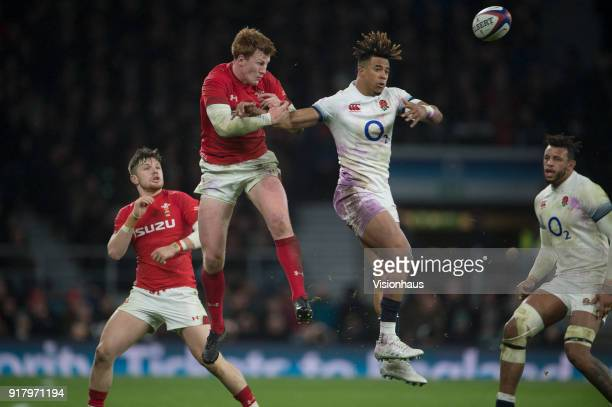 Rhys Patchell of Wales and Anthony Watson of England during the NatWest Six Nations match between England and Wales at Twickenham Stadium on February...