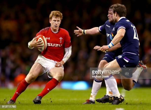 Rhys Patchell of Wales breaks with the ball during the Natwest Six Nations round One match between Wales and Scotland at Principality Stadium on...