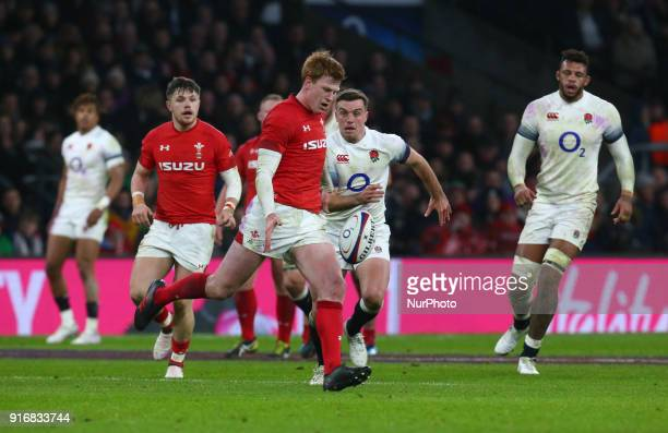 Rhys Patchell of Wales during NatWest 6 Nations match between England against Wales at Twickenham stadium London on 10 Feb 2018