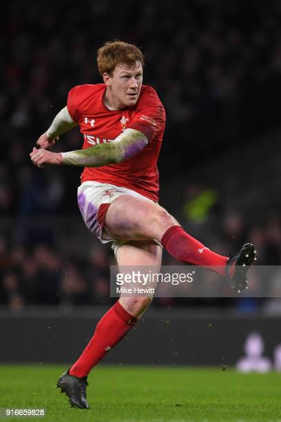 Rhys Patchell of Wales kicks a penalty during the NatWest Six Nations match between England and Wales at Twickenham Stadium on February 10 2018 in...