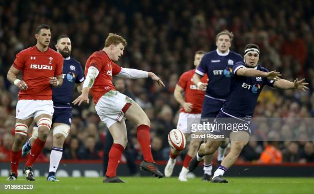 Rhys Patchell of Wales kicks the ball during the Natwest Six Nations round One match between Wales and Scotland at Principality Stadium on February 3...