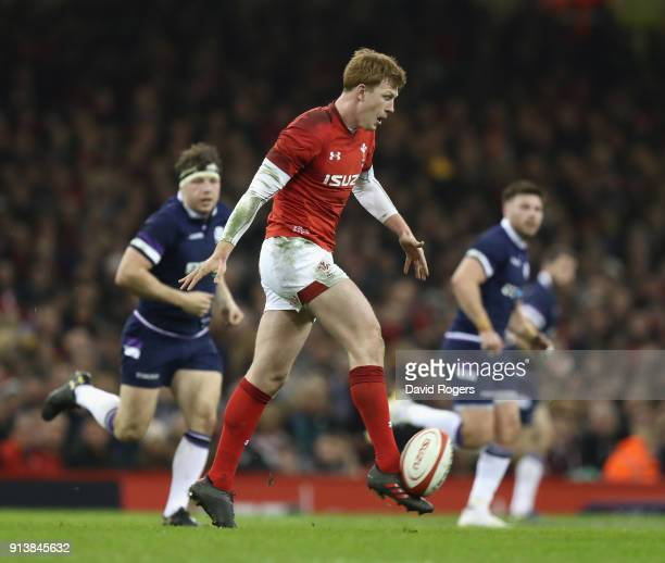 Rhys Patchell of Wales kicks the ball upfield during the NatWest Six Nations match between Wales and Scotland at the Principality Stadium on February...