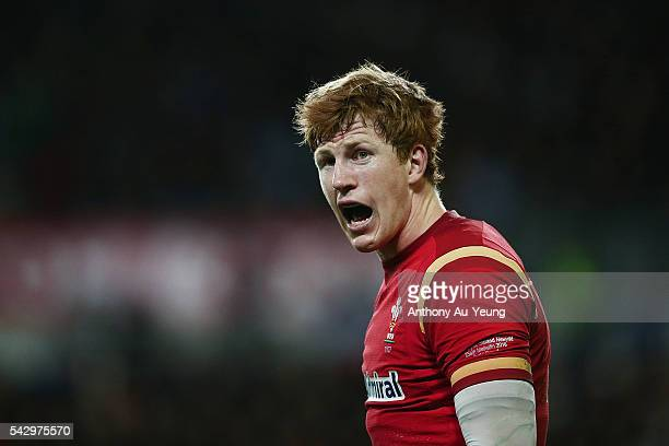Rhys Patchell of Wales reacts during the International Test match between the New Zealand All Blacks and Wales at Forsyth Barr Stadium on June 25...