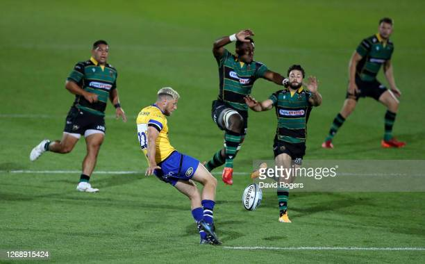 Rhys Priestland of Bath kicks the ball upfield during the Gallagher Premiership Rugby match between Northampton Saints and Bath Rugby at Franklin's...