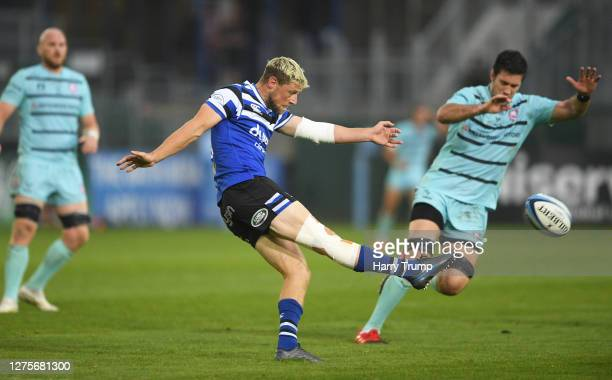 Rhys Priestland of Bath Rugby clears the ball during the Gallagher Premiership Rugby match between Bath Rugby and Gloucester Rugby at The Recreation...