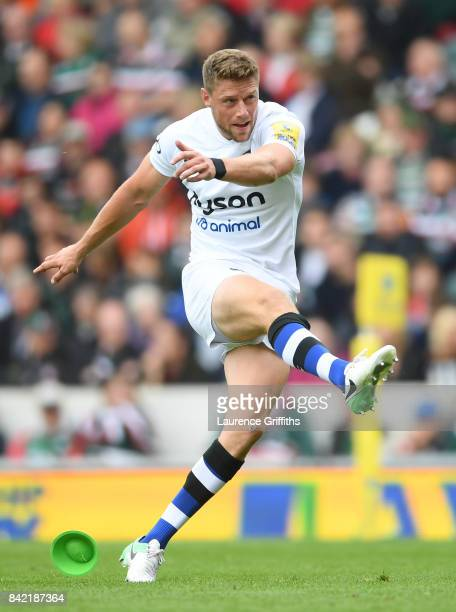 Rhys Priestland of Bath Rugby in action during the Aviva Premiership match between Leicester Tigers and Bath Rugby at Welford Road on September 3...