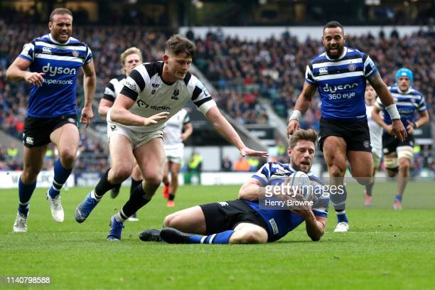 Rhys Priestland Of Bath Rugby Touches Down To Score His Team S Fourth Try During The Gallagher