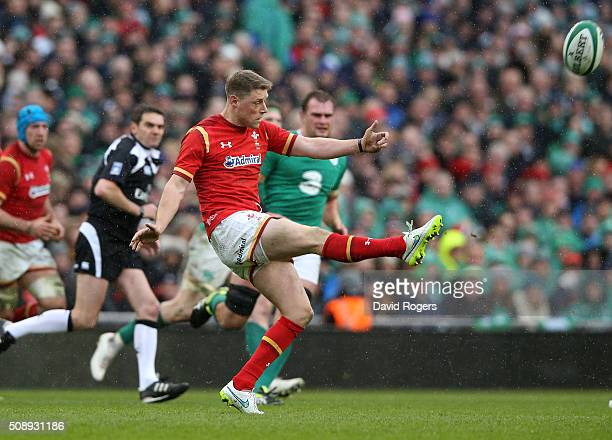 Rhys Priestland of Wales kicks the ball upfield during the RBS Six Nations match between Ireland and Wales at the Aviva Stadium on February 7 2016 in...