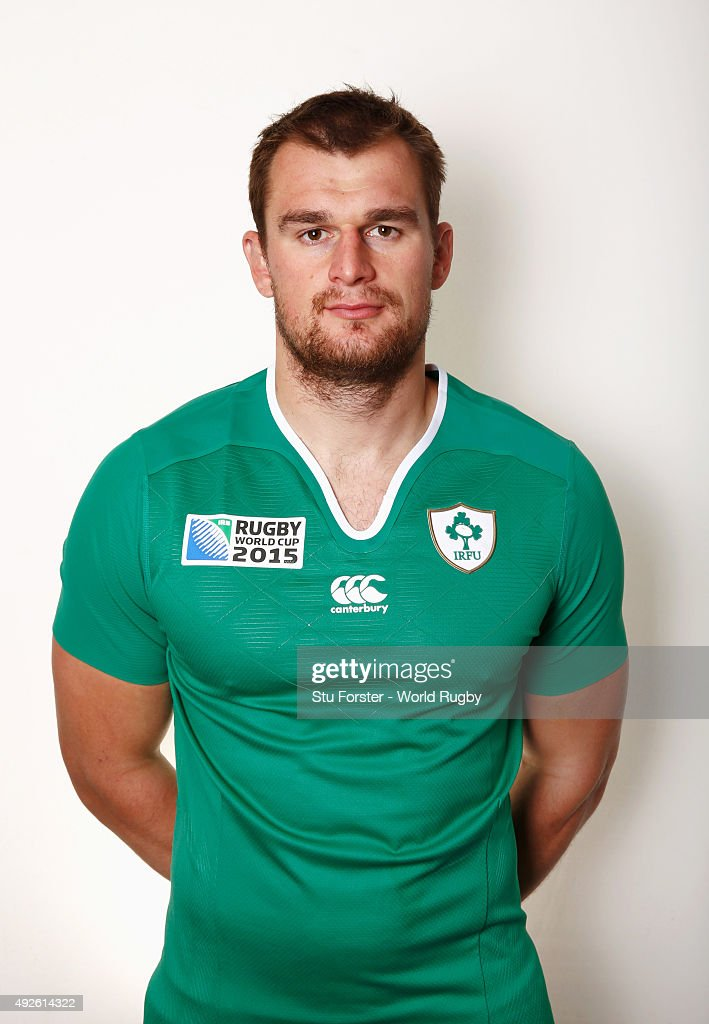Rhys Ruddock of Ireland poses for a portrait during the Ireland Rugby World Cup 2015 squad photo call on October 14, 2015 in Cardiff, Wales.