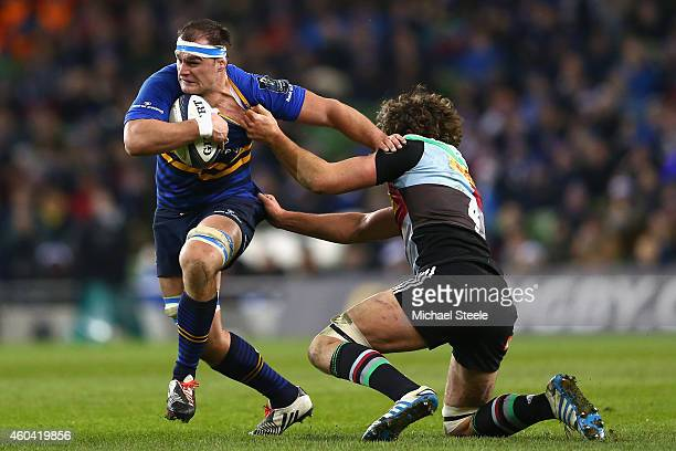 Rhys Ruddock of Leinster holds off Charlie Matthews of Harlequins during the European Rugby Champions Cup Pool Two match between Leinster Rugby and...