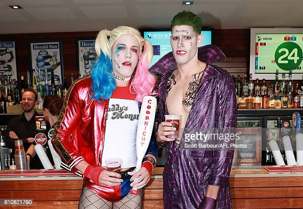 Rhys Stanley as Harley Quinn and Zac Smith as the Joker during the Geelong Cats AFL postseason celebrations at the Lord of Isles Hotel on September...