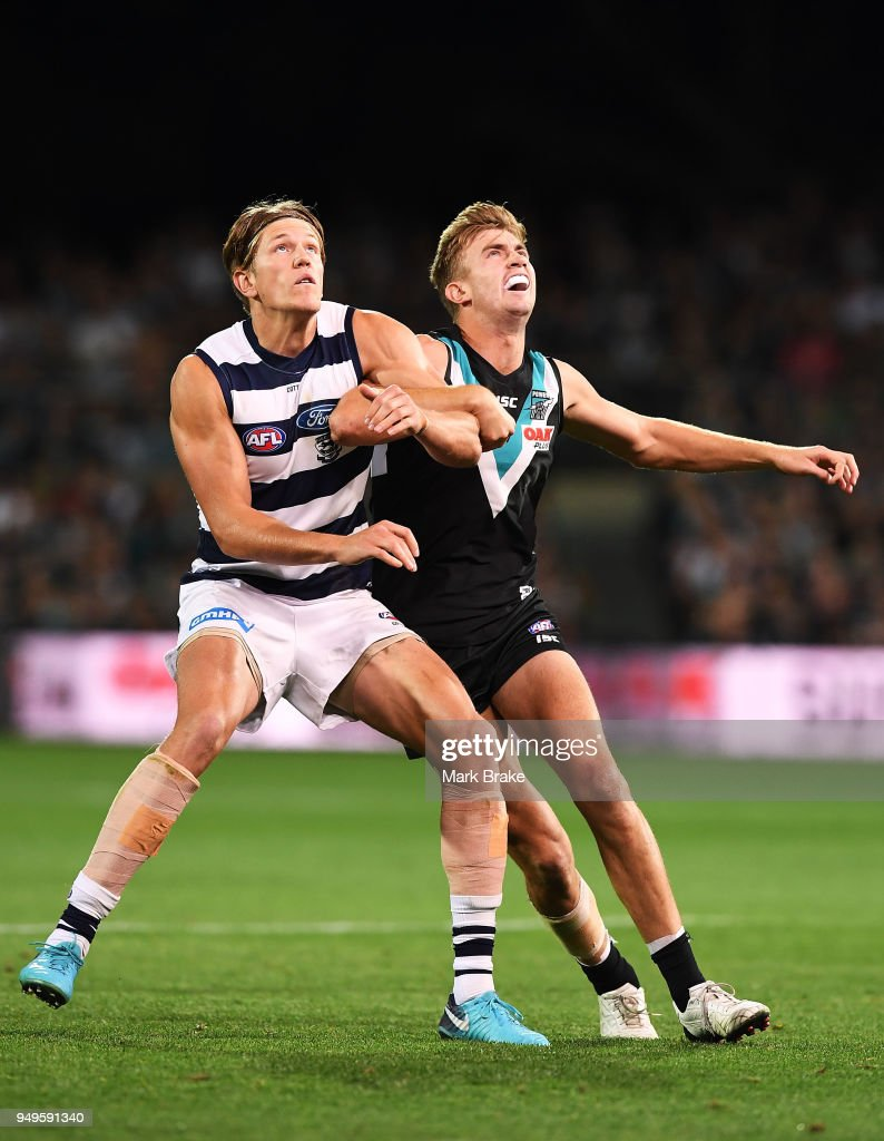 Rhys Stanley of the Cats and Dougal Howard of Port Adelaide during the round five AFL match between the Port Adelaide Power and the Geelong Cats at Adelaide Oval on April 21, 2018 in Adelaide, Australia.