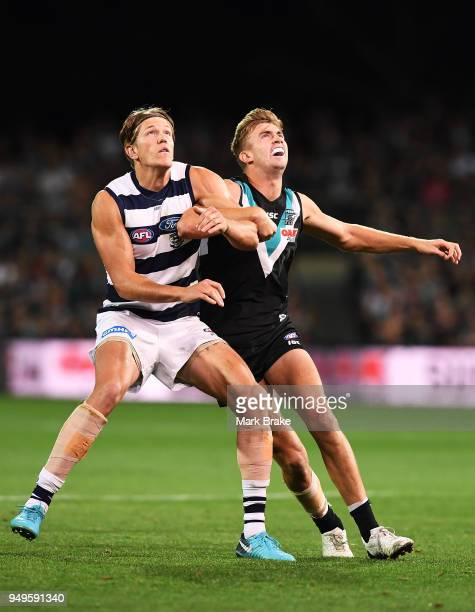 Rhys Stanley of the Cats and Dougal Howard of Port Adelaide during the round five AFL match between the Port Adelaide Power and the Geelong Cats at...