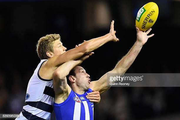 Rhys Stanley of the Cats and Todd Goldstein of the Kangaroos compete in the ruck during the round 12 AFL match between the Geelong Cats and the North...