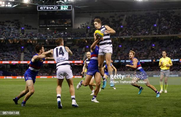 Rhys Stanley of the Cats and Tom Liberatore of the Bulldogs compete in a ruck contest during the 2018 AFL round 15 match between the Western Bulldogs...