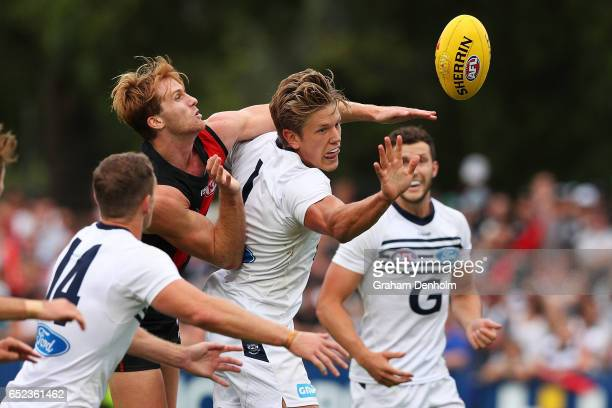 Rhys Stanley of the Cats competes for the ball during the JLT Community Series AFL match between the Geelong Cats and the Essendon Bombers at Queen...