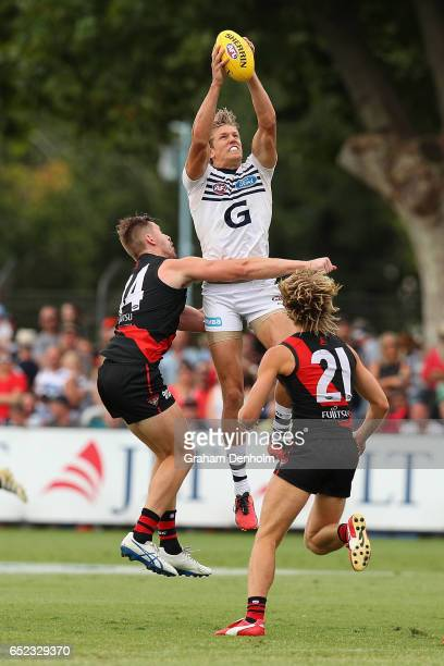 Rhys Stanley of the Cats takes a mark during the JLT Community Series AFL match between the Geelong Cats and the Essendon Bombers at Queen Elizabeth...