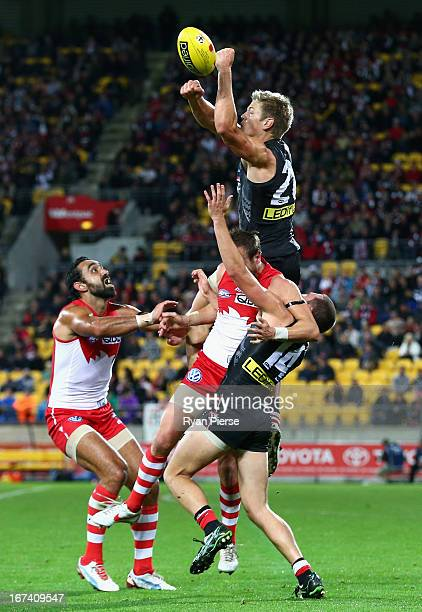 Rhys Stanley of the Saints flies high to spoil during the round five AFL match between the St Kilda Saints and the Sydney Swans at Westpac Stadium on...