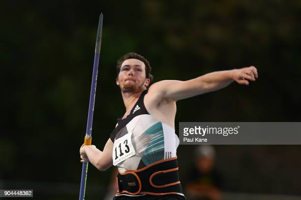 Rhys Stein competes in the men's javelin throw during the Jandakot Airport Perth Track Classic at WA Athletics Stadium on January 13 2018 in Perth...