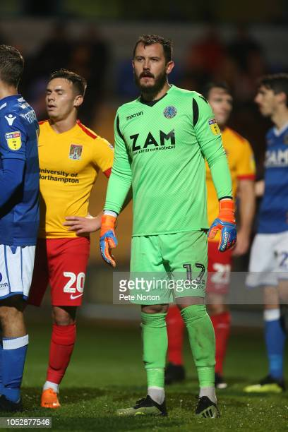 Rhys Taylor of Macclesfield Town in action during the Sky Bet League Two match between Macclesfield Town and Northampton Town at Moss Rose Ground on...