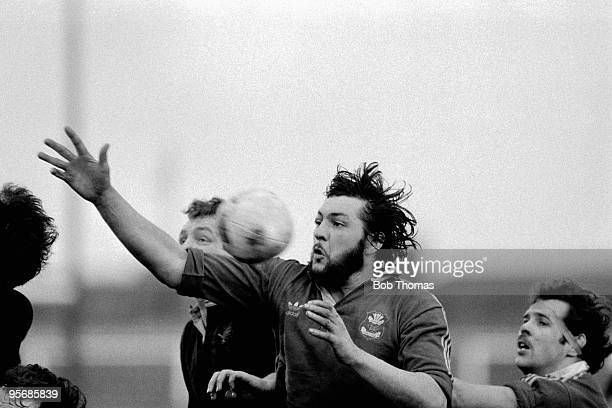 Rhys Thomas of Llanelli during the Llanelli v Wasps Rugby Union match played at Stradey Park Llanelli on the 14 January 1984 Llanelli won the match...