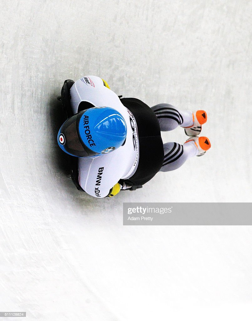 Rhys Thornbury of New Zealand completes his first run of the Men's Skeleton during Day 4 of the IBSF World Championships 2016 at Olympiabobbahn Igls on February 18, 2016 in Innsbruck, Austria.