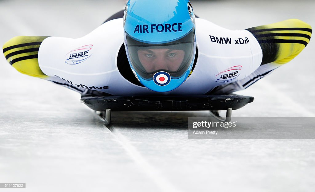 Rhys Thornbury of New Zealand completes his second run of the Men's Skeleton during Day 4 of the IBSF World Championships 2016 at Olympiabobbahn Igls on February 18, 2016 in Innsbruck, Austria.