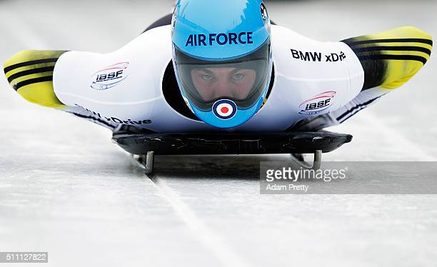Rhys Thornbury of New Zealand completes his second run of the Men's Skeleton during Day 4 of the IBSF World Championships 2016 at Olympiabobbahn Igls...